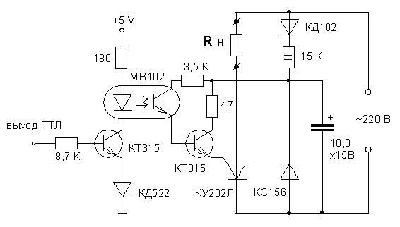 Если симисторы-тиристоры советские, типа КУ202 - КУ208, ставили развязку на АОУ103, ну или вот так...